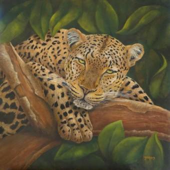 Léopard sur la branche