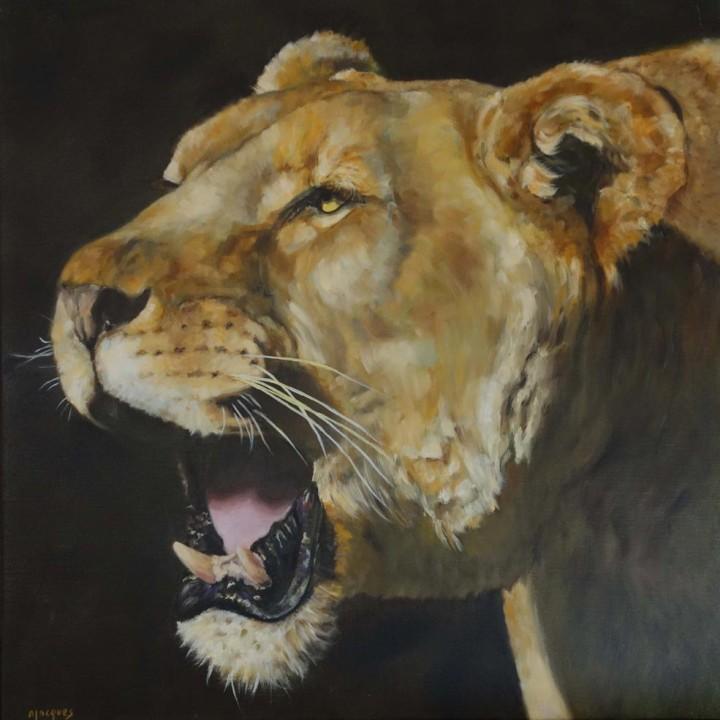 Portrait Lionne rugissant
