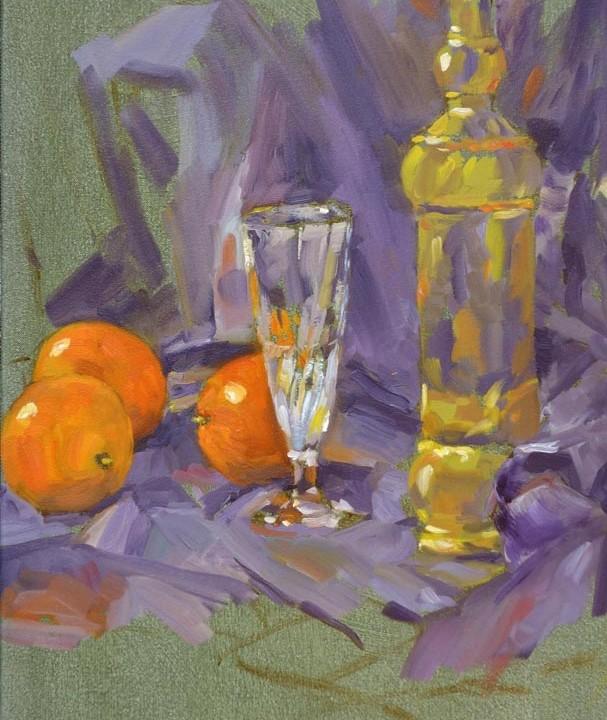 Bouteille verre et oranges