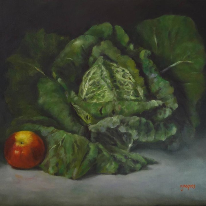 Chou vert et pomme rouge