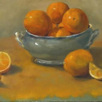 Oranges et pot bleu