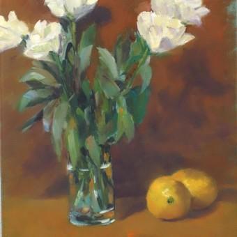 Fleurs blanches et citrons